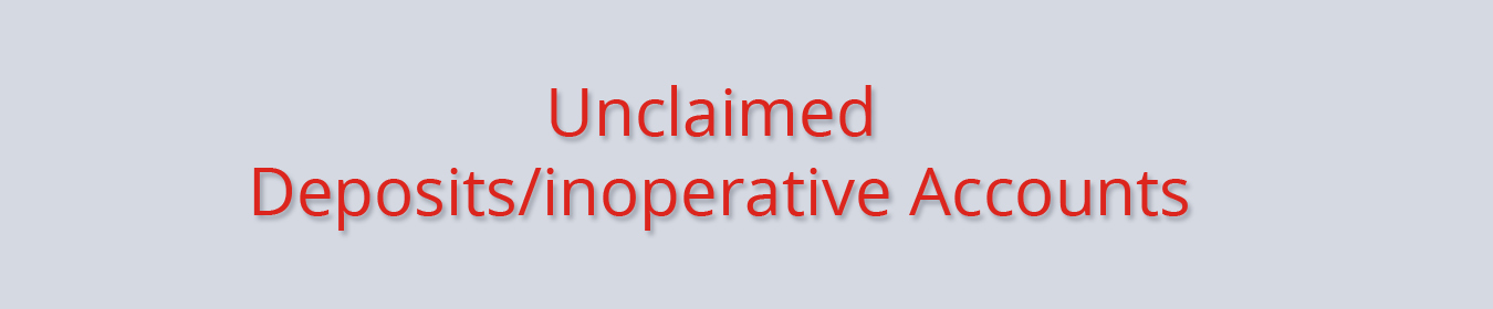 Unclaimed Deposits Inoperative Accounts
